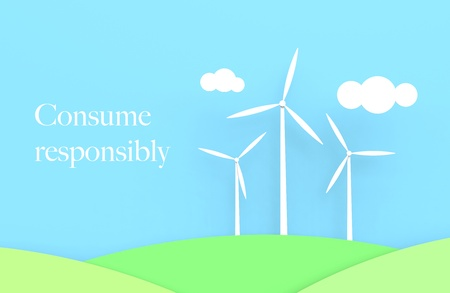 Three wind turbines with a blue sky and green fields. White text saying Consume responsibly. Stock Photo