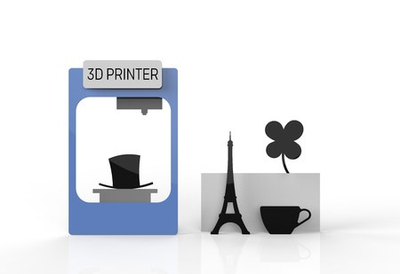 rapid prototyping: 3D printer and various printed objects and prototypes. 3D printed cup, tower and clover flower.