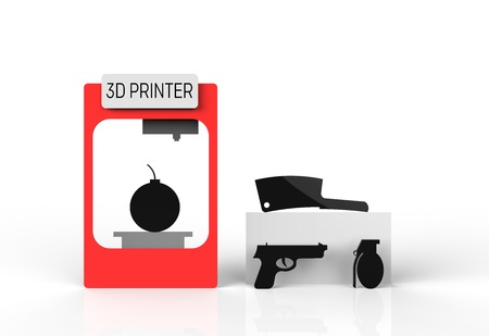rapid prototyping: 3D printer misused to create harmful products such as a bomb and pistol.