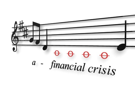 recession: Financial recession illustrated as a musical notes metaphor Stock Photo