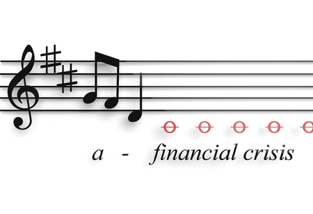 Financial recession illustrated as a musical notes metaphor Stock Photo