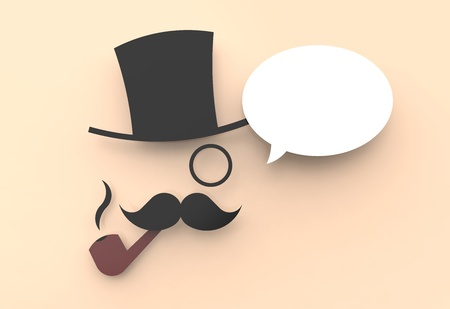 A cute illustration of a wise man with a top hat and a pipe, saying something in a speech balloon