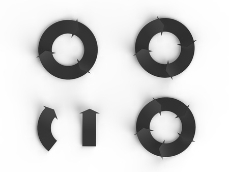 Three black cycles of arrows and two isolated arrows for making business infographics