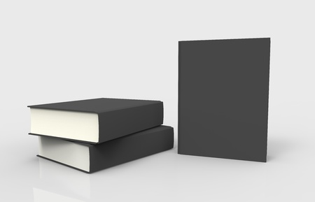 encyclopedias: Three black books with blank covers