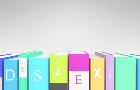 A row of colorful books that spells out  dyslexia  as a metaphor of the condition  Stock Photo