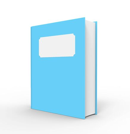 A bright blue book with a white blank title  The book is standing up and has a white background