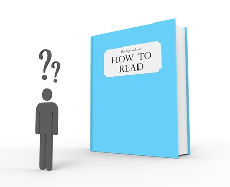 A dyslexic person standing in front of a big blue book with the title  The big book on how to read  Stock Photo - 19820514