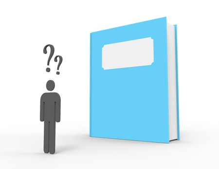 A person standing in front of a big blue book feeling confused  The book has a blank title