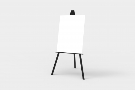 A black easel with a blank white canvas on it. Perfect for pasting artwork, notices or commercial adds. photo