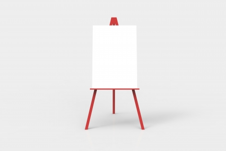 adds: A red easel with a blank white canvas on it. Perfect for pasting artwork, notices or commercial adds.