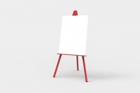 A red easel with a blank white canvas on it. Perfect for pasting artwork, notices or commercial adds. Stock Photo - 19837102