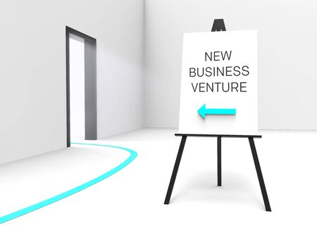 suggesting: One easel with a sign saying New business venture and an arrow pointing at a bright illuminated doorway, suggesting a great business opportunity. Stock Photo
