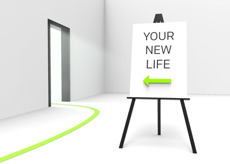 gateway: One easel with a sign saying Your new life and an arrow pointing at a bright illuminated doorway, suggesting a new beginning. Perfect for therapeutic, religious or medical concepts. Stock Photo