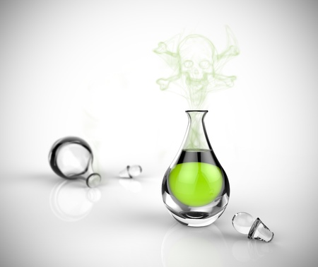 poison bottle: A glass bottle of poison with toxic vapor in the shape of a skeleton. Green chemical liquid in a glass beaker on a white background. Stock Photo