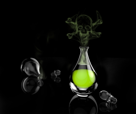 poison bottle: A glass bottle of poison with toxic vapor in the shape of a skeleton. Green chemical liquid in a glass beaker on a black background.