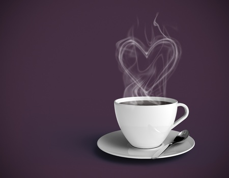 brown cup tea: Steamy coffee cup with vapor shaped as a heart. White cup and purple background. Insert your own text. Stock Photo