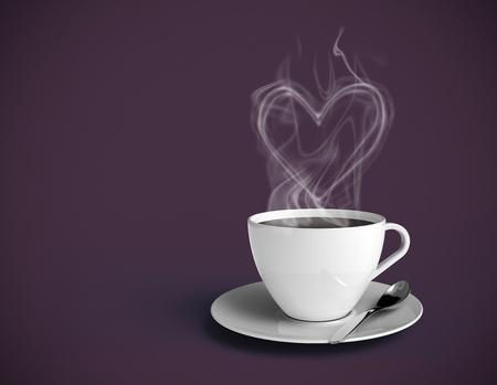 x�cara de ch�: X�cara de caf� fumegante com vapor em forma de cora��o. Copo branco e fundo roxo. Insira o seu pr�prio texto. Banco de Imagens