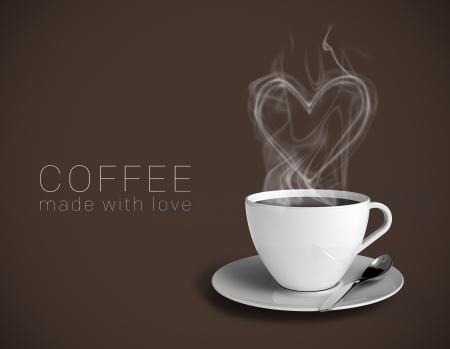 """bijschrift: Een kopje heerlijke koffie met een stomende hart. Bruine achtergrond en de titel zeggen """"Koffie met liefde gemaakt"""". Neem gemakkelijk uw eigen tekst."""