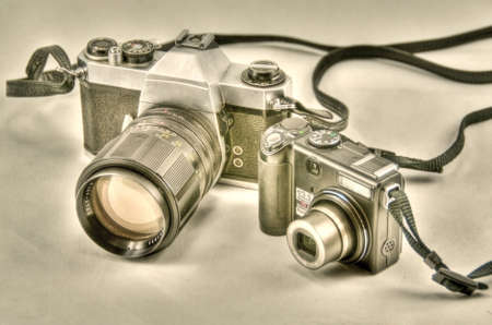 hdr background: camera evolution in hdr Stock Photo