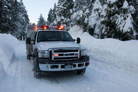 fire truck in winter