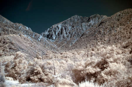 impervious: infrared mountain landscape