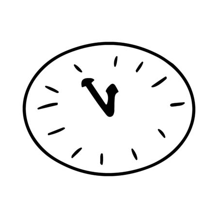Alarm clock ring comic book.Doodle clock. Five minutes to twelve on the clock. Five minutes until the new year. Vector illustration