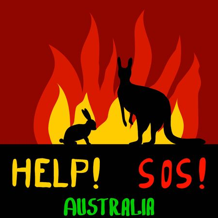 Incendio en Australia. Muerte de animales. Ayuda a personas y animales. Desastre ambiental. Oramos por Australia. Canguro y conejo en el fondo del fuego. Ilustración vectorial. Bandera.
