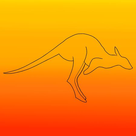 Kangaroo on a background of fire. Fire in Australia. Help people and animals. Poster for news, Newspapers. Animals Of Australia.Vector illustration  イラスト・ベクター素材