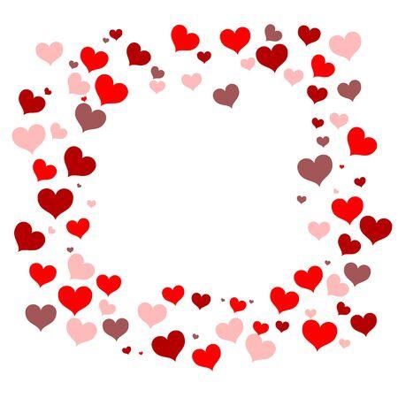 Der Rahmen ist quadratisch mit kleinen Herzen. Alle Rottöne. Geeignet für Postkarten, Dekoration, Geschenk, Grüße. Ein Symbol der Liebe und für den Valentinstag. Platz für die Inschrift. Vektorillustration Vektorgrafik