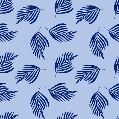 Seamless pattern with tropical blue leaves on a blue background. Printing on textiles, fabrics. Fashionable color and print. Vector illustration