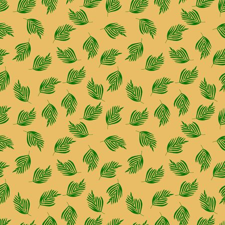 Seamless pattern with tropical green leaves on an orange background. Printing on textiles and fabrics. Fashionable color and print. Vector illustration