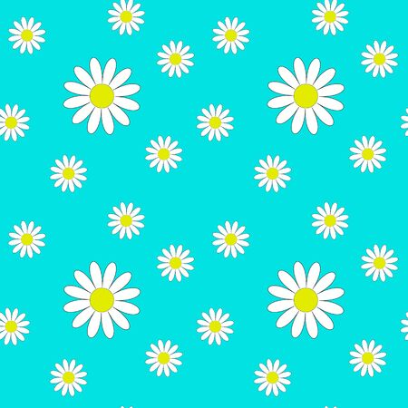 Seamless pattern with daisies on a blue background. Flowers of different sizes. Printing on childrens textiles. Summer flowers.Nice illustration.Floral print. Vector illustration Illusztráció