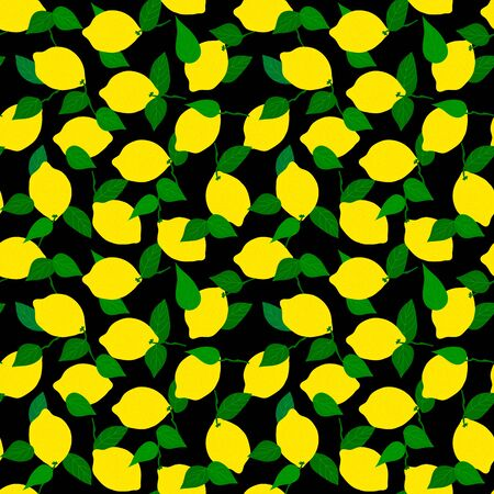 Lemon seamless pattern on black background with green leaves.Suitable for printing on fabric, wrapping paper.Tropical stylized fruit. Vector illustration Çizim