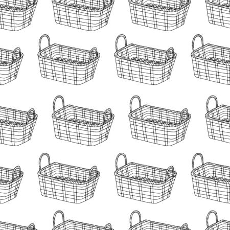 Seamless pattern with basket hand drawing line, black and white image. Elements for autumn, Easter, holiday, picnic, vector image Foto de archivo - 138269092