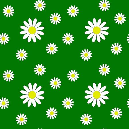 Seamless pattern with daisies on a green background. Flowers of different sizes. Printing on childrens textiles. Summer flowers.Nice illustration.Floral print. Vector illustration