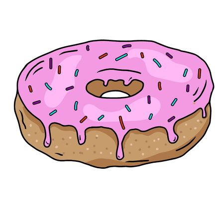 Doughnut with pink cream and a sprinkle of colored. Sweet pastries, hand-drawn drawing. Doodles.For printing on paper, fabric. Vector illustration Stock Illustratie