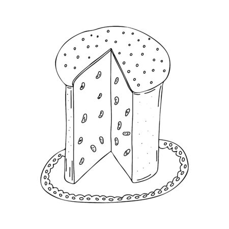 Easter cupcake isolated on white background. Hand-drawn line drawing. Doodles.Cut out a piece of cake with raisins.For textiles, postcards, and jewelry. Vector illustration
