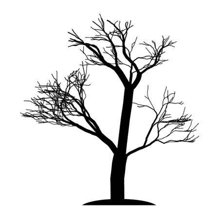 Die Silhouette des Baumes ist ohne Blätter schwarz. Ein einsamer Baum mit Ästen. Alter Baum. Vektor-Illustration