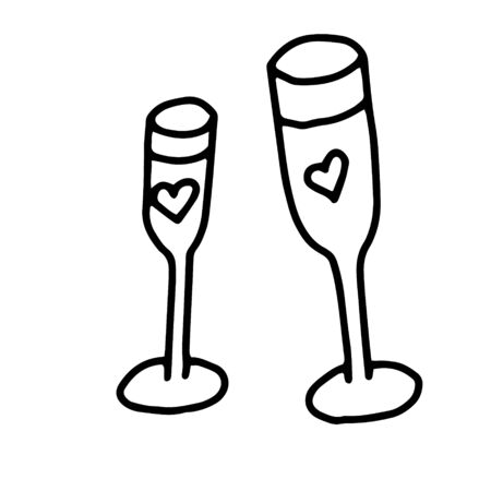 Two glasses of champagne or wine with a heart.Hand drawing with a line.Doodles.Romance, Valentine's day, new year, Christmas.Black and white image.Vector illustration Ilustração