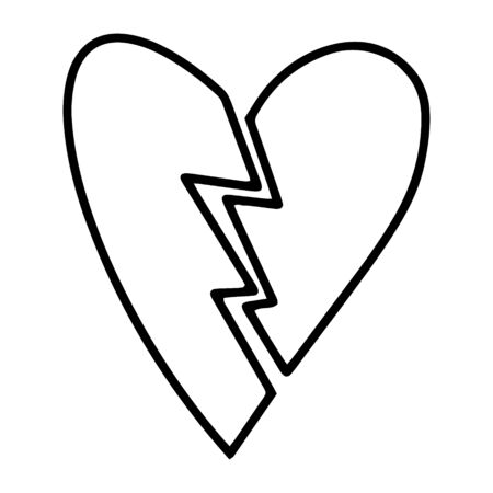 Split the heart into 2 halves. Hand drawn line drawing.Doodles.Valentines day, love, divorce, broken heart.Vector illustration Иллюстрация