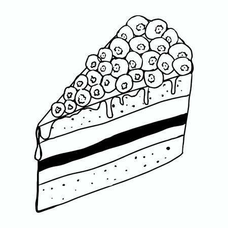 A piece of blueberry cake.Manual contour drawing with a line.Black and white image.Confectionery.Wild berry.Coloring.Vector image
