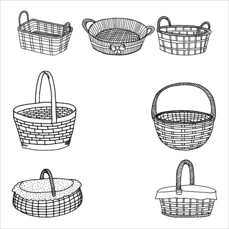 Set of wicker baskets.Contour drawing.Hand drawing with a line.Black and white image.Baskets for picnic, holiday, Easter, Pets.Vector illustration