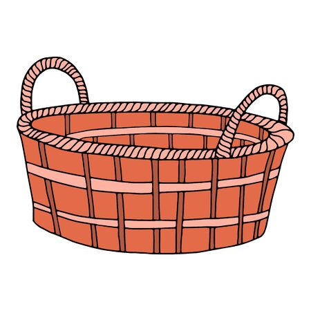 Hand-drawn wicker basket isolated on a white background.Oval high basket for a picnic, for collecting mushrooms and berries, for Easter, for a holiday in nature,for animals.Vector illustration 向量圖像
