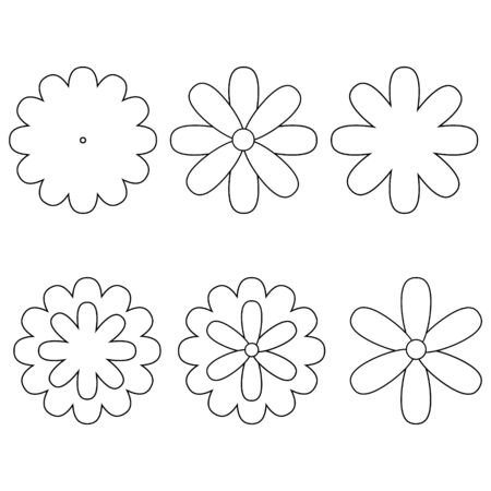 Set of contour flowers isolated on a white background.Simple flowers.Floristic.Vector illustration