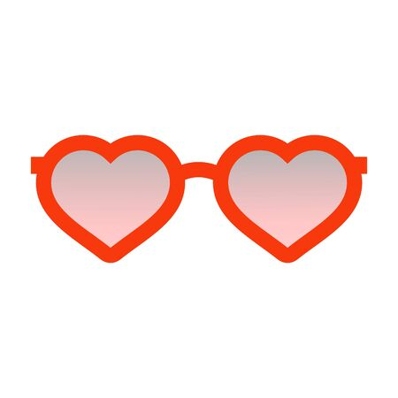 Red glasses in the shape of a heart with pink and smoked glass.Fashionable bright accessories for men and women .A stylized illustration.Vector illustration