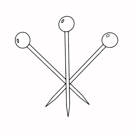 A tailor s needle with a ball at the end, a sewing pin for stabbing. 3 needles black and white image.Sewing supplies.Doodle style.Freehand drawing.Vector illustration.