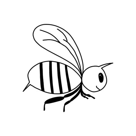 A single bee in the style of Doodle.Black - and-white image of an insect.Contour drawing of a cute bee.Children s drawing.Vector image.