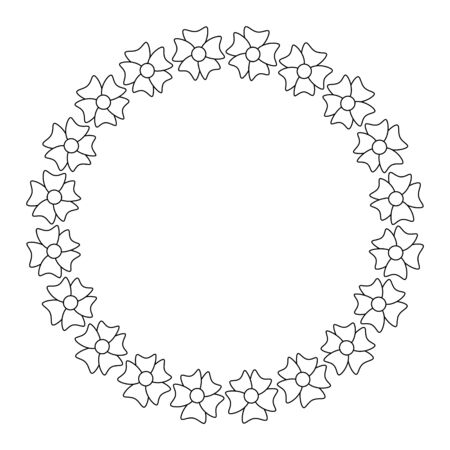 Floral wreath. The flower frame is drawn in the Doodle style .Black and white illustration isolated on a white background.For making invitations and postcards.Circle of elements.Vector illustration
