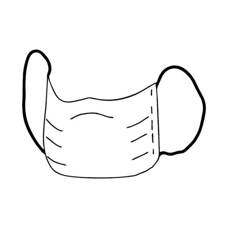 Medical disposable protective mask drawn in the style of Doodle.Prevention and prevention of diseases and viruses.Black and white image isolated on a white background.Outline image by hand.Vector image