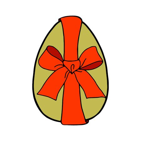 An Easter egg tied with a ribbon.A green egg with a red bow.Flat illustration.Picture for the holiday of bright Easter.Suitable for postcards, decor, textiles.Vector illustration